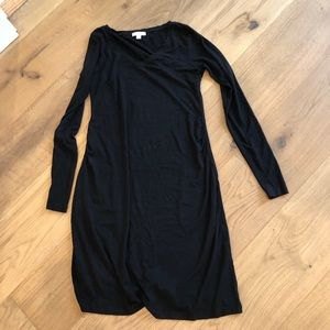 Black fitted long sleeved maternity dress